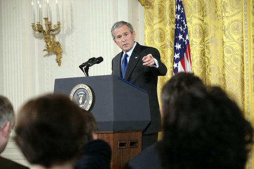 President George W. Bush holds a press conference in the East Room Wednesday, Oct. 25, 2006. White House photo by Eric Draper