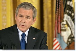 "President George W. Bush discusses Iraq with reporters during a press conference in the East Room Wednesday, Oct. 25, 2006. ""I will send more troops to Iraq if General Casey says, I need more troops in Iraq to achieve victory,"" said President Bush in response to a reporter's question about the troops serving in Iraq. White House photo by Paul Morse"