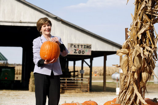 Mrs. Laura Bush picks out a pumpkin at Hackman's Farm Market and Green House Wednesday, October 25, 2006, in Columbus, Indiana. White House photo by Shealah Craighead