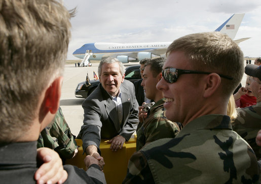 President George W. Bush greets Buckley Air Force Base personnel and their families before departing Aurora, Colorado, Saturday, Nov. 4, 2006. White House photo by Eric Draper