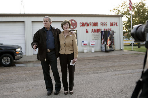 President George W. Bush speaks to the press after he and Laura Bush voted at the Crawford Fire Station in Crawford, Texas, Tuesday, Nov. 7, 2006. White House photo by Eric Draper