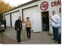 President George W. Bush and Laura Bush greet fellow voters after casting their ballots at the Crawford Fire Station in Crawford, Texas, Tuesday, Nov. 7, 2006. White House photo by Eric Draper