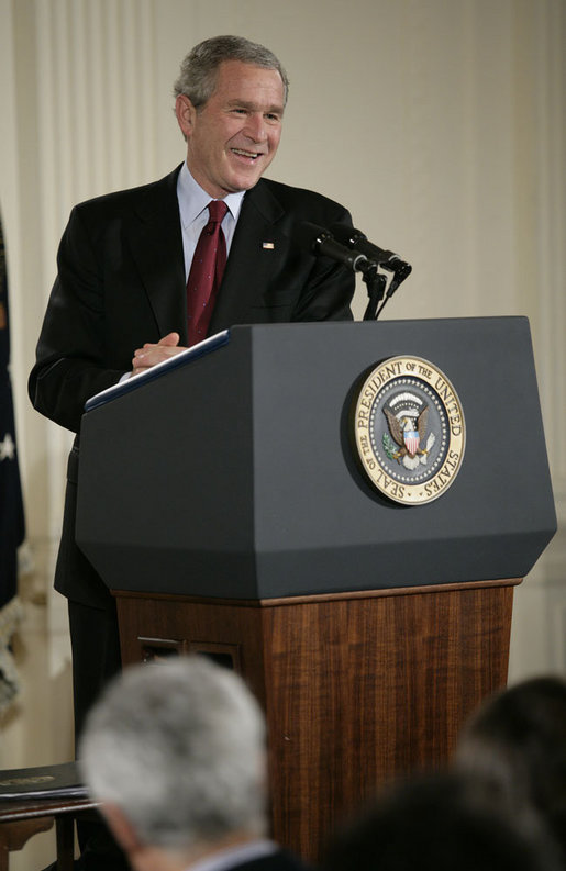 President George W. Bush smiles as he responds to a reporter's question Wednesday, Nov. 8, 2006, during a news conference in the East Room of the White House to address the results of Tuesday's elections. White House photo by Eric Draper
