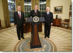 Flanked by Secretary of Defense Donald Rumsfeld, left, and Dr. Robert Gates, President George W. Bush announces the resignation of Secretary Rumsfeld Wednesday, Nov. 8, 2006, and the intention to nominate Dr. Gates as his successor. White House photo by Paul Morse