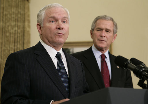 Dr. Robert Gates speaks to the media in the Oval Office Wednesday, Nov. 8, 2006. With more than 25 years of national security experience, Dr. Gates was announced as President Bush's intended successor to Donald Rumsfeld as Secretary of Defense. White House photo by Paul Morse