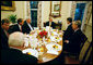 President George W. Bush shares breakfast with the Bicameral Republican Leadership Thursday morning, Nov. 9, 2006, at the White House. With the President, to his right (clockwise) are: Sen. Bill Frist, R-Tenn; Mitch McConnell, R-Ky; Vice President Dick Cheney, Missouri Rep. Roy Blunt, Ohio Rep. John Boehner and House Speaker Dennis Hastert of Illinois. White House photo by Paul Morse