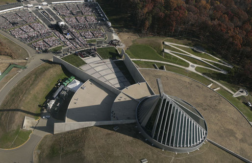 An aerial view of the National Museum of the Marine Corps is seen Friday, Nov. 10, 2006, in Quantico, Va., where President George W. Bush addressed the dedication ceremony of the museum on the 231st anniversary of the Marine Corps. White House photo by Paul Morse