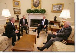 President George W. Bush and Vice President Dick Cheney speak with Senate Democratic leaders Sen. Harry Reid, second from left, and Sen. Richard Durbin at a post-election meeting in the Oval Office, Friday, Nov.10, 2006.  White House photo by David Bohrer