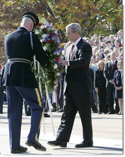 President George W. Bush lays a wreath at the Tomb of the Unknowns during Veteran's Day ceremonies Saturday, Nov. 11, 2006, at Arlington National Cemetery in Arlington, Va. White House photo by Kimberlee Hewitt