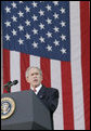 President George W. Bush addresses the Veteran�s Day ceremonies Saturday, Nov. 11, 2006, at Arlington National Cemetery in Arlington, Va. White House photo by Kimberlee Hewitt