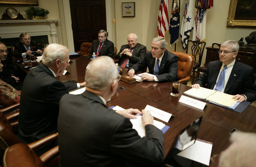 President George W. Bush is joined by Stephen Hadley, National Security Advisor, Vice President Dick Cheney and Chief of Staff Josh Bolten Monday, Nov. 13, 2006, during a meeting with the Baker-Hamilton Commission in the Roosevelt Room of the White House. Members of the Commission include: Lee Hamilton, James Baker, Sandra Day O'Connor, William Perry, Vernon Jordan and Lawrence Eagleburger. White House photo by Eric Draper
