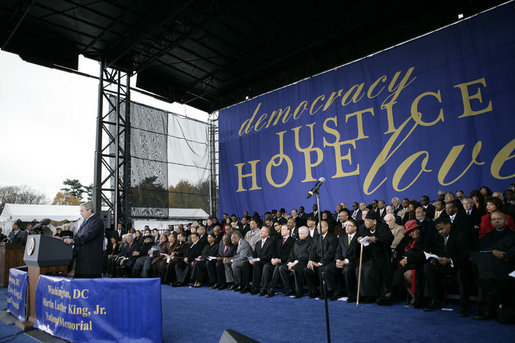 "President George W. Bush delivers his remarks at the groundbreaking ceremony Monday, Nov. 13, 2006, for the Martin Luther King Jr. National Memorial on the National Mall in Washington, D.C. President Bush said ""The King Memorial will be a fitting tribute, powerful and hopeful and poetic, like the man it honors."" White House photo by Eric Draper"