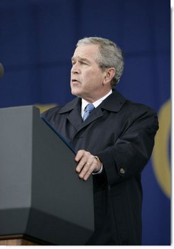 "President George W. Bush delivers his remarks at the groundbreaking ceremony Monday, Nov. 13, 2006, for the Martin Luther King Jr. National Memorial on the National Mall in Washington, D.C. President Bush said ""The King Memorial will be a fitting tribute, powerful and hopeful and poetic, like the man it honors."""