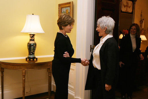 Mrs. Laura Bush welcomes Aliza Olmert, well-known artist and wife of Israeli Prime Minister Ehud Olmert, to the family residence at the White House for lunch Monday, Nov. 13, 2006. White House photo by Shealah Craighead