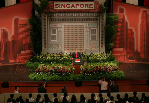 President George W. Bush delivers remarks at the National University of Singapore Centre for the Arts Thursday, November 16, 2006. White House photo by Shealah Craighead