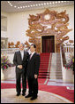 President George W. Bush stands with Prime Minister Nguyen Tan Dung at the Office of the Government Cabinet Room Friday, Nov. 17, 2006, in Hanoi after his arrival with Mrs. Laura Bush to Vietnam. White House photo by Eric Draper