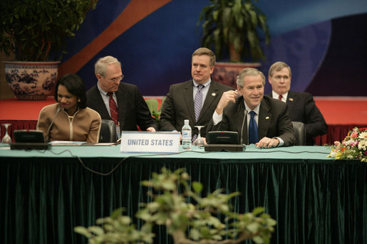 Seated with Secretary of State Condoleezza Rice, President George W. Bush participates in a meeting with Southeast Asian leaders Saturday, Nov. 18, 2006, at the International Convention Center in Hanoi. White House photo by Eric Draper