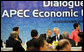 President George W. Bush participates in the APEC Leaders Dialogue with ABAC, the APEC Business Advisory Council, Saturday, Nov. 18, 2006, at the National Conference Center in Hanoi. White House photo by Eric Draper