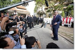 President George W. Bush addresses the media after he and Mrs. Laura Bush attended service at Cua Bac Church in Hanoi, Vietnam, Sunday, Nov. 19, 2006. White House photo by Shealah Craighead