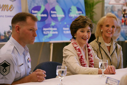 Mrs. Laura Bush is joined by Mary Fallon, right, wife of Navy Admiral William J. Fallon the Commander of the U.S. Pacific Command, during a roundtable discussion with military personnel Tuesday, Nov. 21, 2006, on military housing and educational services provided to families stationed in Honolulu, Hawaii. White House photo by Shealah Craighead