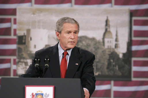 "President George W. Bush delivers remarks Tuesday, Nov. 28, 2006, at Latvia University in Riga, Latvia. The President thanked the people of Latvia for accommodating the world leaders to the NATO summit and thanked President Vike-Freiberga and her government for a ""spectacular job."" White House photo by Paul Morse"