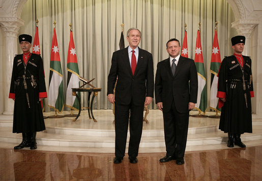 President George W. Bush meets with Jordan's King Abdullah II at Raghadan Palace, Wednesday, Nov.29, 2006 in Amman, Jordan. White House photo by Eric Draper