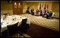 "President George W. Bush meets with Prime Minister Nouri al-Maliki of Iraq Thursday, Nov. 30, 2006, at the Four Seasons Hotel in Amman. Afterward, the two leaders issued a joint statement that thanked Jordan's King Abdullah II for hosting the Amman meetings and said they were pleased to ""continue our consultations on building security and stability in Iraq."" White House photo by Eric Draper"