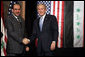 "President George W. Bush and Prime Minister Nouri al-Maliki shake hands after a joint press availability Thursday, Nov. 30, 2006, in Amman, Jordan. The leaders later issued a joint statement in which they said they were, ""Pleased to continue our consultations on building security and stability in Iraq.""  White House photo by Paul Morse"