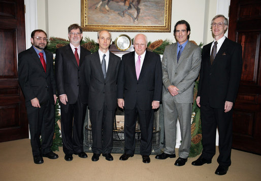 Vice President Dick Cheney meets with the 2006 U.S. Nobel Laureates, Thursday, November 30, 2006 in the Roosevelt Room at the White House. From left to right are Dr. Andrew Fire, 2006 Nobel Prize in Medicine; Dr. George F. Smoot, 2006 Nobel Prize in Physics; Dr. Roger D. Kornberg, 2006 Nobel Prize in Chemistry; Dr. Craig Mello, 2006 Nobel Prize in Medicine; Dr. John C. Mather, 2006 Nobel Prize in Physics. This year marks the first time in 30 years that the U.S. has exclusively won four of the six Nobel prizes, the last time being 1976 when the U.S. won awards in science, economics and literature. White House photo by David Bohrer