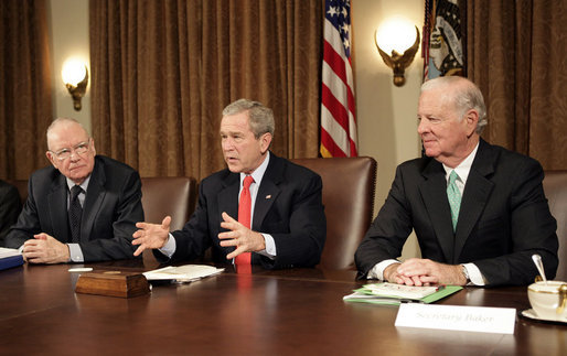 "President George W. Bush addresses the press during a meeting with the Iraq Study Group in the Cabinet Room Wednesday, Dec. 6. 2006. Pictured with the President are the group's co-chairmen former Representative Lee Hamilton, left, and former Secretary of State James Baker. The group presented a report assessing the situation in Iraq. In his comments to the press, the President said, "". this report will give us all an opportunity to find common ground, for the good of the country -- not for the good of the Republican Party or the Democratic Party, but for the good of the country."" White House photo by Eric Draper"