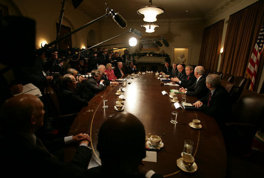 "President George W. Bush is joined by members of the Iraq study group Wednesday, Dec. 6, 2006, as he delivers remarks from the Cabinet Room after receiving the group's report. Said the President, ""This report gives a very tough assessment of the situation in Iraq. It is a report that brings some really very interesting proposals, and we will take every proposal seriously and we will act in a timely fashion."" White House photo by David Bohrer"