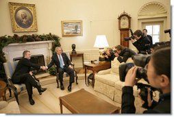 President George W. Bush meets with Prime Minister Tony Blair of the United Kingdom in the Oval Office Thursday, Dec. 7, 2006. After the meeting, the two leaders participated in a joint news conference to discuss the war on terror. White House photo by Eric Draper