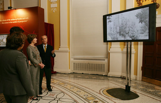Mrs. Laura Bush is shown a video presentation on the preservation and study of Leonardo Da Vinci's drawing and painting of The Adoration of the Magi, Thursday, Dec. 7, 2006 at the Library of Congress in Washington, D.C., by professor Paolo Galluzzi, the director of the National Museum of History of Science in Florence, Italy. White House photo by Shealah Craighead