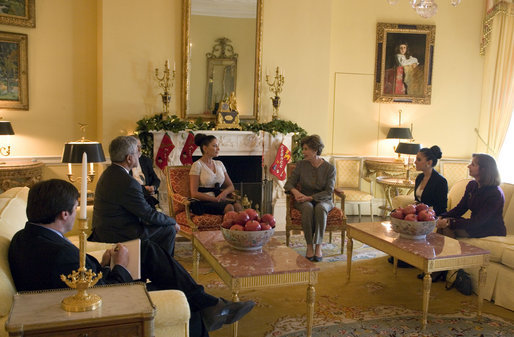 Laura Bush hosts a coffee for Mehriban Aliyeva, First Lady of the Republic of Azerbaijan, in the Yellow Oval Room inside the private residence of the White House Thursday, Dec. 7, 2006. White House photo by Shealah Craighead