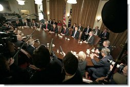 "President George W. Bush meets with the Bicameral Congressional leadership in the Cabinet Room Friday, Dec. 8, 2006. ""I assured the leaders that the White House door will be open when the new Congress shows up. And I think we ought to meet on a regular basis; I believe there's consensus for that,"" said the President in a statement to the press.  White House photo by Eric Draper"