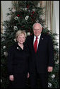 Vice President Dick Cheney and Mrs. Lynne Cheney pose for a holiday portrait in front of the Christmas tree at the Vice President's Residence at the U.S. Naval Observatory in Washington, D.C., Tuesday, December 12, 2006. White House photo by David Bohrer