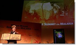 Mrs. Laura Bush addresses her remarks at the first-ever White House Summit on Malaria, Thursday, Dec. 14, 2006, at the National Geographic Society in Washington, D.C. The President's Malaria Initiative, a five-year $1.2 billion program to eradicate malaria in 15 countries, announced at the summit that it will launch a further $30 million Malaria Communities Program to build independent, sustainable malaria-control projects in Africa. White House photo by Shealah Craighead