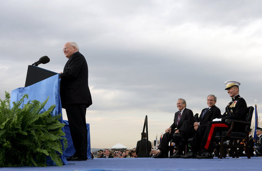 President George W. Bush, Secretary of Defense Donald Rumsfeld, and Chairman of the Joint Chiefs of Staff General Peter Pace laugh as Vice President Dick Cheney makes a joke during his remarks at the Armed Forces Full Honor Review in Honor of Secretary of Defense Donald Rumsfeld at the Pentagon, Friday, December 15, 2006. White House photo by David Bohrer