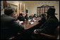 President George W. Bush meets with Jewish leaders from the higher education community in the Roosevelt Room Monday, Dec. 18, 2006. White House photo by Eric Draper