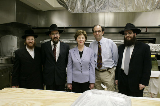 Mrs. Laura Bush is joined by Rabbi Binyomin Taub, Rabbi Hillel Baron, Peter Olster and Rabbi Mendy Minkowitz on Monday, December 18, 2006 during the second-ever kosherizing of the White House kitchen. White House photo by Kimberlee Hewitt