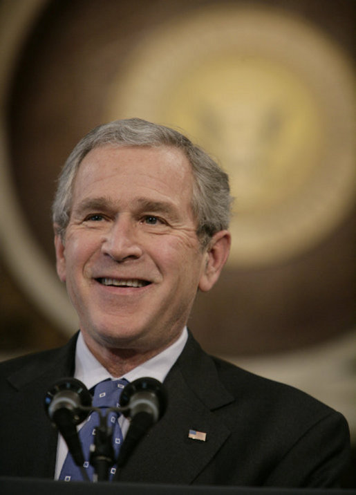 President George W. Bush addresses reporters during his news conference Wednesday, Dec. 20, 2006, in the Indian Treaty Room at the Eisenhower Executive Office Building in Washington, D.C. White House photo by Kimberlee Hewitt