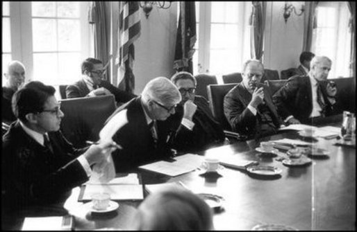 President Gerald Ford meets with his Cabinet in the Cabinet Room, November 15, 1974. Photo courtesy Gerald R. Ford Presidential Library