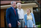 President George W. Bush, Former President Gerald Ford and Betty Ford greet the media at the end of his visit in Rancho Mirage, California, Sunday, April 23, 2006. White House photo by Eric Draper