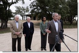 President George W. Bush is joined by, from left to right, Vice President Dick Cheney, Secretary of Defense Robert Gates, Secretary of State Condoleezza Rice and Chairman of the Joint Chiefs of Staff General Peter Pace, as he speaks with reporters following his meeting with his national Security team Thursday, Dec. 28, 2006, at Prairie Chapel Ranch in Crawford, Texas.  White House photo by Paul Morse
