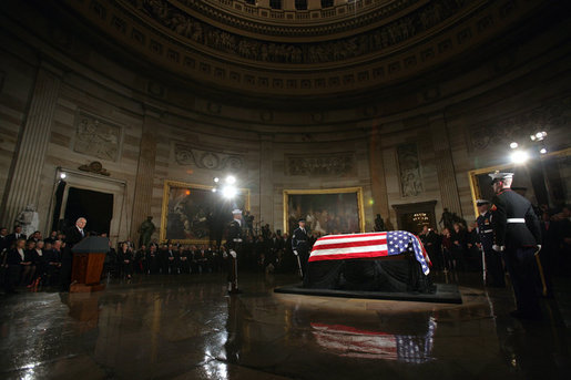 Vice President Dick Cheney delivers the eulogy for former President Gerald R. Ford during the State Funeral ceremony in the Rotunda of the U.S. Capitol, Saturday, December 30, 2006. White House photo by David Bohrer