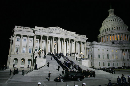 Military pallbearers carry the casket of former President Gerald R. Ford up the East Steps of the U.S. Capitol, Saturday evening, Dec. 30, 2006 in Washington, D.C., to the State Funeral ceremony in the Capitol Rotunda. White House photo by Shealah Craighead