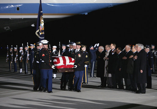 Vice President Dick Cheney leads the group of honorary pallbearers in saluting the casket of former President Gerald R. Ford upon its arrival at Andrews Air Force Base in Maryland, Saturday, December 30, 2006, for the State Funeral ceremonies at the U.S. Capitol. White House photo by David Bohrer
