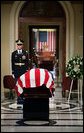 Former President Gerald R. Ford lies in repose in front of the House Chamber at the U.S. Capitol before proceeding to the Rotunda for the State Funeral ceremony, Saturday, December 30, 2006. Former President Ford served in the House of Representatives for 24 years. White House photo by David Bohrer