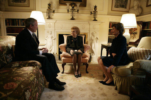 President George W. Bush and Mrs. Laura Bush meet with Mrs. Betty Ford Monday, Jan. 1, 2007, at the Blair House in Washington, D.C. Services will be held Monday at the National Cathedral for former President Gerard R. Ford, who died Dec. 26, 2006, in California. White House photo by Eric Draper