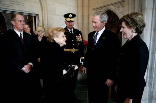 President George W. Bush and Mrs. Laura Bush greet former first lady Betty Ford and her son, Steven Ford, upon their arrival for the State Funeral service for former President Gerald R. Ford at the National Cathedral in Washington, D.C., Tuesday, Jan. 2, 2007. White House photo by Eric Draper